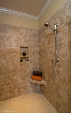 Walk-in shower in The Rochelle, plan 1204. http://www.dongardner.com/plan_details.aspx?pid=3506. #Walk-in #Shower #MasterBath
