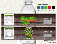 Ninja Turtles Water Bottle Labels - Printable & Personalized for TMNT Birthday Party. $6.00, via Etsy.