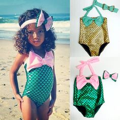 Cartoon Little Mermaid 2 Pcs New Baby Girls Bikini Bodysuit Swimmable Swimming Costume Swimsuit 2 Colors Clothing1