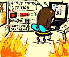 Bee ignores honey job to play Drawception.