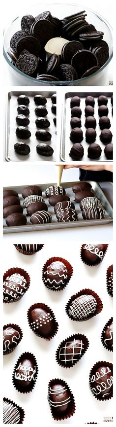 Easter Egg Oreo Truffles -- these delicious treats are made easy with just 4 ingredients. Use a family sized bag of Oreos. If not using for Easter a tablespoon sized truffle would be perfect to dip. Köstliche Desserts, Holiday Desserts, Holiday Baking, Holiday Recipes, Dessert Recipes, Easter Desserts, Holiday Treats, Recipes Dinner, Cake Recipes