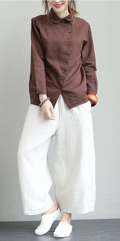 Fall Vintage Cotton Linen Blouse Women C Casual - Womens Fashion - hadido Dress Clothes For Women, Dress Shirts For Women, Blouses For Women, Vintage Outfits, Vintage Fashion, Look Fashion, Fashion Outfits, Womens Fashion, Fashion Trends