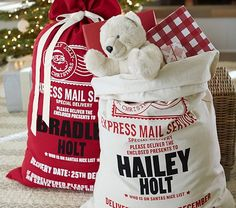 I really would love to get these for the kids! - Linen Santa Bags   Pottery Barn Kids