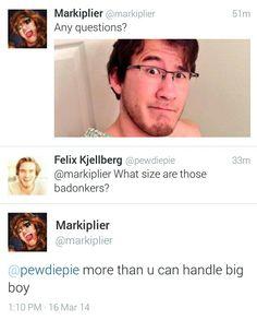 OMFG YES!!! Markiplier and PewDiePie tweets :) 3/16/14