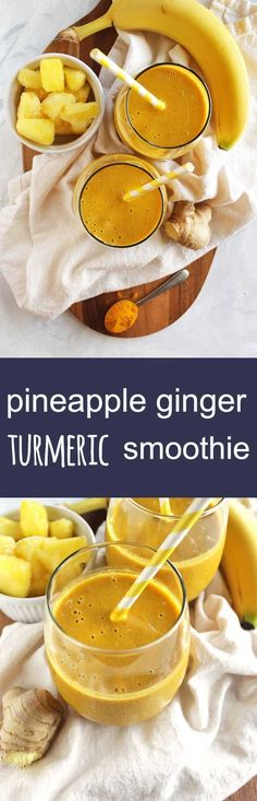 Pineapple ginger turmeric smoothie - a refreshing version of golden milk. It's sweet, tropical, ginger-y and warming from that turmeric. Plus it is packed with health benefits: aids in digestion, packed with vitamin c, anti-inflammatory properties, and healthy fats. Great for when you are feeling sick or under the weather. So yum! (Vegan/Gluten Free/ Dairy Free)   robustrecipes.com