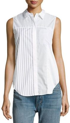 Phillip Lim Patchwork Striped Cotton-poplin Top In White Sleeveless Blouse Outfit, Blouse Styles, Blouse Designs, Fashion Wear, Fashion Outfits, Baby Girl Tops, Stylish Outfits, Dame, Casual Dresses