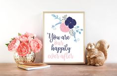 Happily Ever After  Floral Nursery Decor  Girl Nursery