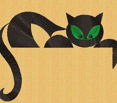 Black Cat embroidery design. Animals embroidery design.