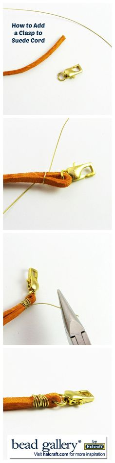 How to Add a Clasp to Suede Cord jewelry techniques ༺✿ƬⱤღ✿༻ Jewelry Clasps, Jewelry Tools, Leather Jewelry, Beaded Jewelry, Jewelery, Jewelry Accessories, Handmade Jewelry, Jewelry Design, Leather Cord