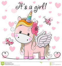 Baby Shower Greeting Card With Unicorn Girl - Download From Over 68 Million High Quality Stock Photos, Images, Vectors. Sign up for FREE today. Image: 99206127