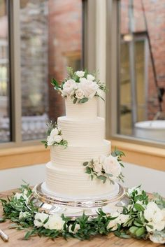 garden wedding Cheekwood Gardens Wedding- Elegant four tier wedding cake with lined icing and white cake flowers Wedding Cakes With Cupcakes, Elegant Wedding Cakes, Elegant Cakes, Wedding Cake Designs, Rustic Wedding, Cake Wedding, Whimsical Wedding, Wedding Shoes, Wedding Ideas