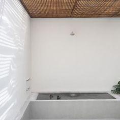 wood slats above outdoor shower