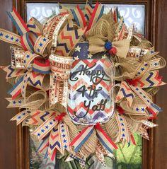 Happy 4th Ya'll, 4th of July burlap wreath  www.facebook.com/southernsass