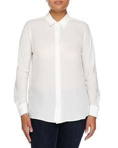 Armani Collezioni Button-Front Silk Georgette Blouse New offer @@@ Price :$1295 Price Sale $453.25