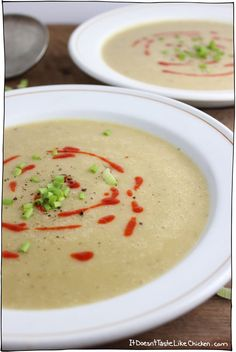 This is a beautiful and flavorful soup that is made with pumpkin and sweet potato, and seasoned with onion and leek. Velvety coconut milk adds a nice finishing touch. Coconut Milk Soup, Coconut Milk Recipes, Vegan Potato Soup, Sweet Potato Soup, Canned Pumpkin, Pumpkin Puree, Root Veggies, Chili Soup, Leek Soup