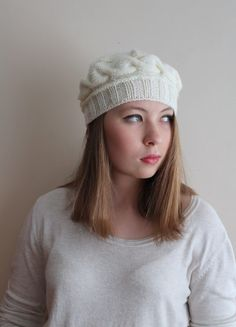 EXPRESS CARGO! 12 Colours. Express shipping.  Mothers day gift. Ivory hat, Ivory beret.  Gift for her. Ivory cable hat, ready to shipping. by beyazdukkan on Etsy https://www.etsy.com/listing/189489452/express-cargo-12-colours-express