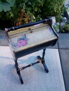 Vintage mid century modern 1960s sewing box on legs with for Nicholas sparks black mountain furniture collection