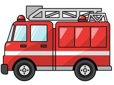 Cartoon Fire Truck With Fireman Clipart Fire Truck Craft, Truck Crafts, Fireman Party, Firefighter Birthday, Transportation Theme, Cute Clipart, Clipart Images, Birthday Invitation Templates, Fire Trucks