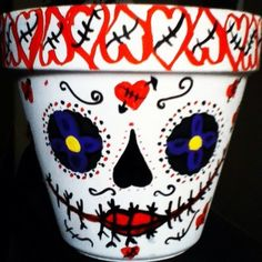 Dai De los Muertos Day of the dead Flower pot OOAK