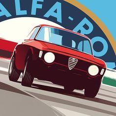 Alfa Romeo's Sports Sedan is a Future Classic: HagertyThe 2017 Alfa Romeo Giulia Quadrifoglio has Vintage Racing, Vintage Cars, Auto Illustration, Alfa Romeo Gta, Design Garage, Car Prints, Car Vector, Car Posters, Car Drawings