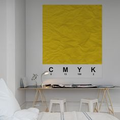 Bed # Workplace # office # home office # yellow Workspace Inspiration, Decoration Inspiration, Interior Inspiration, Design Inspiration, Home Interior, Interior Architecture, Interior And Exterior, Swedish Interior Design, Home Office