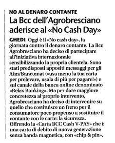 """21/06/2011 - Giornale di Brescia - La Bcc dell'Agrobresciano aderisce al """"No Cash Day"""""""