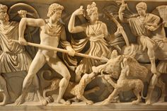 A detail from a Roman sarcophagus in Procennesian marble depicting the Calydonian boar hunt from Greek mythology. The Greek hero Meleager attacks the boar with his spear while Artemis looks on. Provenance: Vicovaro, date unknown. (Capitoline Museums, Rome).