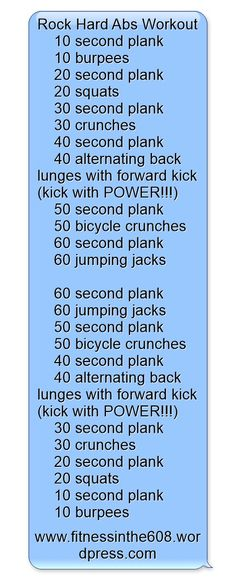 Rock Hard Abs Workout 10 second plank 10 burpees # hard Workout Plans Six Pack Abs Workout, Best Ab Workout, Abs Workout Routines, At Home Workout Plan, At Home Workouts, Workout Plans, Workout Fitness, Hard Ab Workouts, Effective Ab Workouts