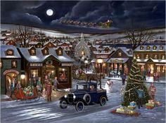 Rejoice by H. Hargrove ~ Christmas evening nostalgic village