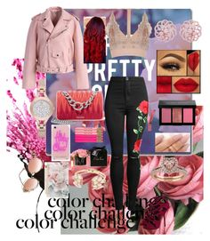 """red&pink holiday"" by joy-chiquita-godboldo on Polyvore featuring Trademark Fine Art, Bobbi Brown Cosmetics, Emilio!, Chicwish, Miu Miu, River Island, Emporio Armani, Rebecca Minkoff, Kate Spade and Giuseppe Zanotti"