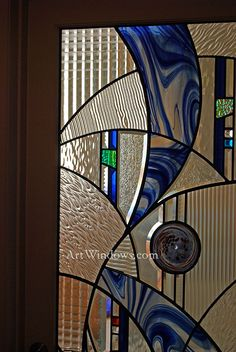 abstract door in blues Modern Stained Glass, Stained Glass Door, Custom Stained Glass, Stained Glass Designs, Stained Glass Panels, Stained Glass Projects, Stained Glass Patterns, Leaded Glass, Mosaic Glass