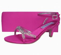 Stunning fuchsia pink satin and diamante low heel strappy evening sandals. See our fantastic range of ladies sandals, matching shoes and bags online. Wedding Guest Shoes, Wedge Wedding Shoes, Bridal Shoes, Sandals Wedding, Low Heel Shoes, Low Heels, Wedge Shoes, Evening Sandals, Evening Shoes