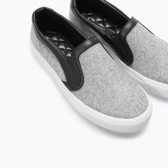 MINIMAL + CLASSIC: grey wool with leather trim slide-ons