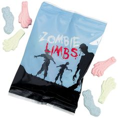 Zombie Limbs Candy. Your Trick or Treaters will love these. $.45 each, $3.79 per dozen, $7.59 per unit of 35. http://www.partypalooza.com/Merchant2/merchant.mvc?Screen=PROD&Product_Code=ZombiesCandies