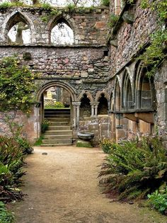 The garden serenity of a ruin. Beauport Abbey ruins in Brittany, France.
