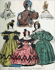 Georgian Fashion of 1836: Plate No 5 - Morning and Evening Dresses