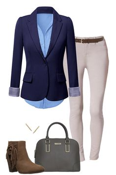 stitchfix- like skinny kahkis with the light blue blouse and boots