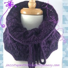 Cowl Neck Warmer Deep Purple Hand Knit with  Lampwork Bead in Caron Simply Soft #Handmade by @JazzitupwithDes -- http://jazzitupwithdesigns.indiemade.com/product/neck-warmer-deep-purple-white-pearl-button-hand-knit-caron-simply-soft