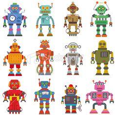robot set Royalty Free Stock Vector Art Illustration