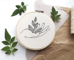 botanical hand embroidery hoop art by tuskandtwine on Etsy