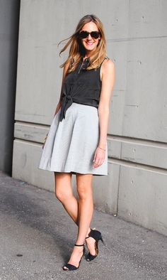 Black Tie Up Shirt and Stripe Skirt - Classic