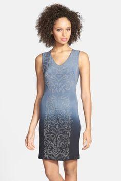 Beaded Cutout Ombre Silk Sheath Dress