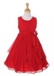 Red Chiffon Girl Dress with Rhinestone