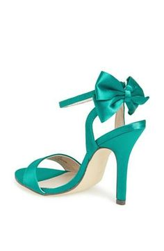A bow makes everything lovely | Turquoise Satin Sandal.