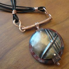 Copper & Red Picture Japser Fold Formed Necklace by EllaAndTess, $57.00