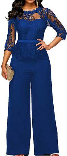 b6ad34e8808d  SOMTHRON Women s Slash Neck Clubwear Bodysuit Romper Pants High Waist  Formal Lace Sleeve Wide Leg Party Jumpsuit(BE-L)  Clothing  dress   lacedress ...