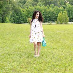 Libertad Green: Feather Print Dress