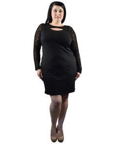 Plus Size Black Long Sleeve Lace Evening Cocktail Party Dress Keyhole Neck 2X