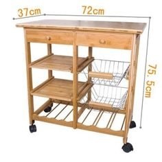 100% Bamboo Lengthen Size (72cm) Kitchen Trolley with Shelves & Drawer Storage, FKW06-N: Amazon.co.uk: Kitchen & Home