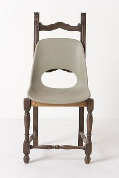 I find this series of chairs to be incredibly bizarre. I am all for mixing vintage and modern, but I think I would like it better if the seat was not grey plastic, but a bent-wood and less contrasty with the wood of the original chair. It reminds me of a high chair.    Banana Chair #anthropologie
